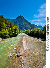 Mountain River in the Bavarian Alps, Germany
