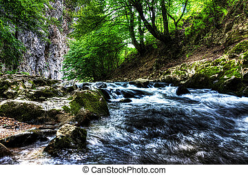 Water flowing in river bed, Bigar Waterfall, Romania.