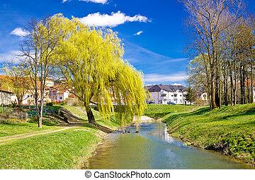 River Bednja in Ludbreg springtime view, Prigorje region of...