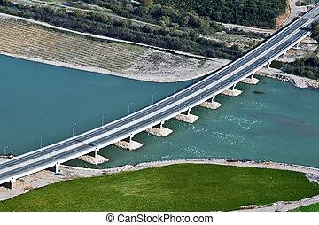 River bridge, aerial view