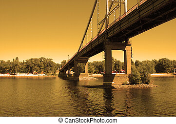 River bridge at sunset