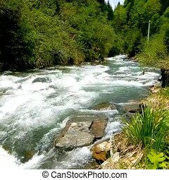 river., côté, jeûne, affichage montagne
