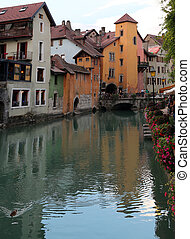 River called Thiou in downtown of Annecy in France