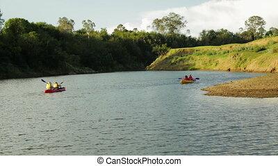 River Canoe Paddling, Qld Island, Australia