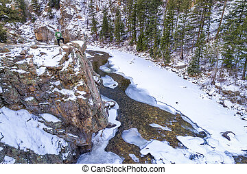 river canyon in winter aerial view