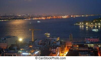 River city skyline ship - River with city skyline and ship...