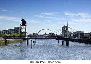 River Clyde bridges at Pacific Quay - River Clyde at Pacific...