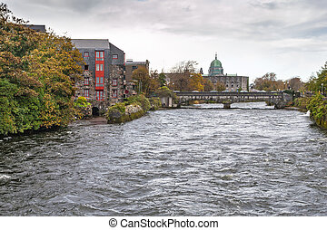 River Corrib in Galway, the Cathedrale in the background