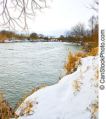 River covered with snow