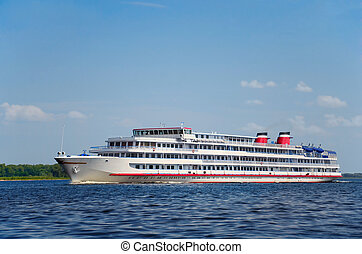 Four-deck river cruise ship on Volga river