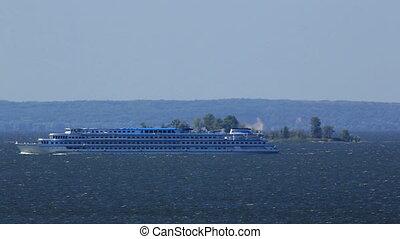 River cruise ship sailing
