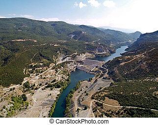 River dam, aerial view