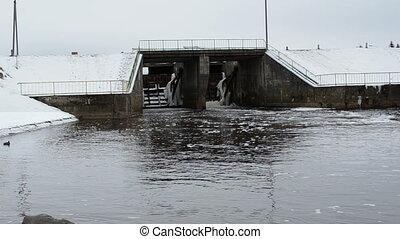 river dam water car ducks - retro river dam and ducks swim...