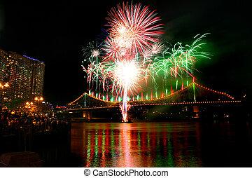 River dance festival fireworks at Brisbane
