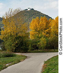 River Danube and Leopoldsberg on a cloudy day in autumn