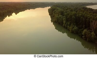River Danube view - River Danube landscape in summer sunset,...