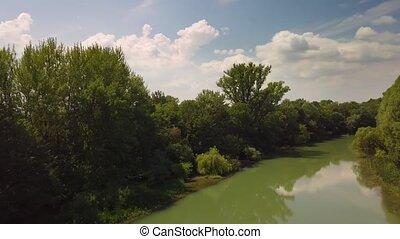 River Danube view - River Danube, Mosoni Duna aerial drone ...