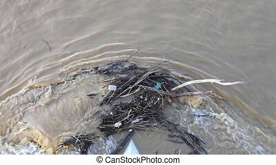River Debris - Water and Debris at Bridge in Sava River...