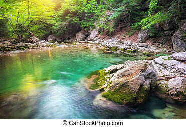 River deep in mountain at summer. Water stream at forest. Composition of nature