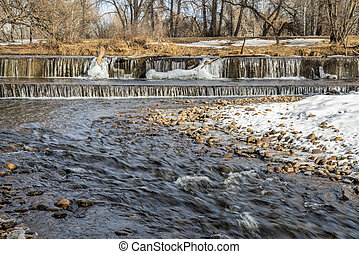River diversion dam in winter scenery