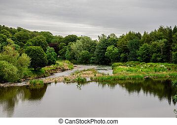 River Don view at Seaton park in Aberdeen, Scotland