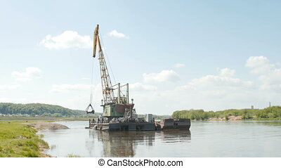 River dredging works. - 2016 May 20, Kaunas, Lithuania....