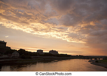 River Elbe at Sunset in Dresden