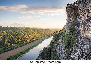 River Elbe in the Elbe Sandstone Mountains