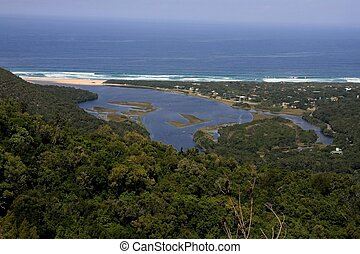 The beautiful river mouth and lagoon at Natures Valley, South Africa