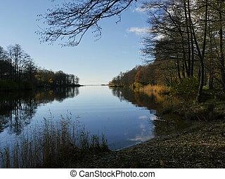 river evening, autumn beautiful landscape