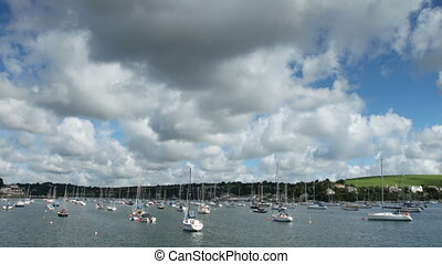 River fal cloud and boats timelapse - River fal clouds and...