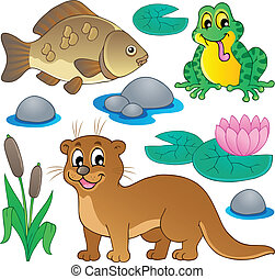 River fauna collection 1 - vector illustration.