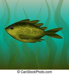 River fish. Under the water. Underwater plants.