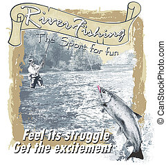 River fishing vector - fishing vector for shirt printed and ...