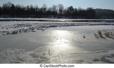 river floating ice