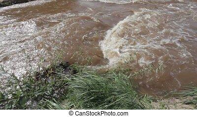 River flood broken road after heavy rainfall, Latvia