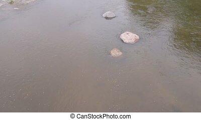 The river sihl flow with rocks stones Zurich Switzerland