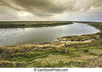 River flowing through the Prairies