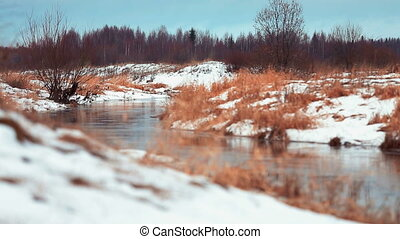 River flowing through the winter fo