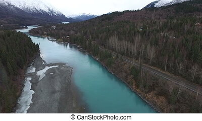 River Flows Alaska Chagach National Forest Fly Fisherman -...