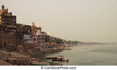 River Ganga and Alamgir Mosque, Varanasi, India - Wide...