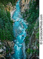 River Ganga in valley Himalayas mountains - Ganga river in ...