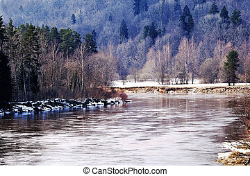 River Gauja by an early spring in national park Sigulda,...