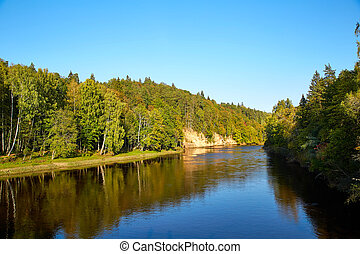 River Gauja, Latvia - view of river Gauja. Gauja National...