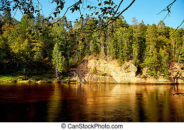River Gauja, Latvia - view of river Gauja. Gauja National...