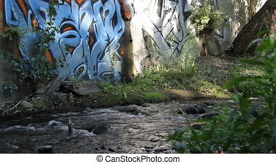River graffiti - This is a shot of a graffiti wall at the...
