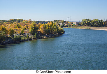 river., grand, fall., dniester, paysage rivière