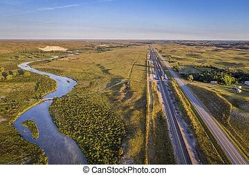 river, highway and railroad in Nebraska Sandhills
