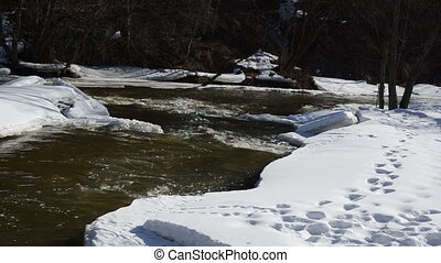 river ice snow cascade - panorama of river banks covered...