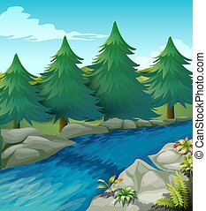 River - Illustration of a river with pine trees alongside
